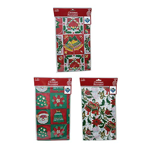 THE UM24 2 Pack Christmas Holiday Tablecloth in Assorted Pattern Designs 54 x 90 in
