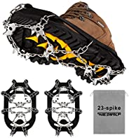 Crampons Ice Cleats Safety Traction Cleats Snow Ice Grips 23 Spikes fit Boots/Shoes for Men Women Walking Hiki