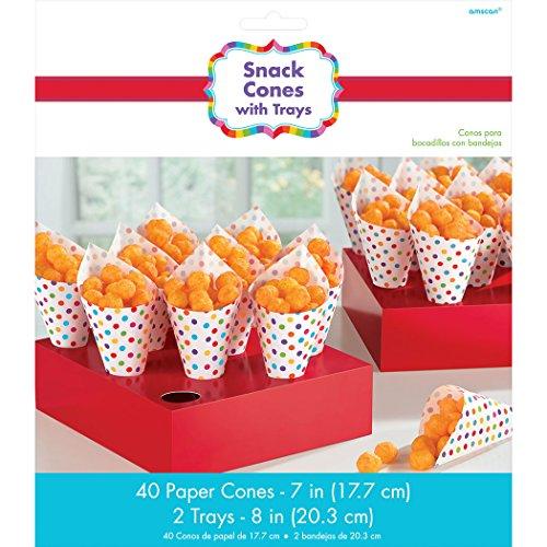 Rainbow Mini Paper Snack Cones with Tray | 40 Ct. ()