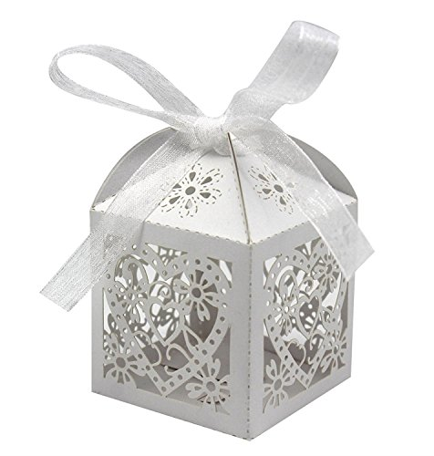 KEIVA 100 Pack Love Heart Laser Cut Wedding Party Favor Box Candy Bag Chocolate Gift Boxes Bridal Birthday Shower Bomboniere with Ribbons (White, 100)