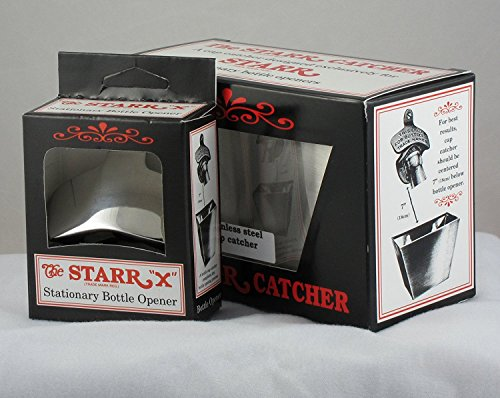 POLISHED STAINLESS STEEL Combo Wall Mount Bottle Opener / Brushed SS Cap Catcher Set