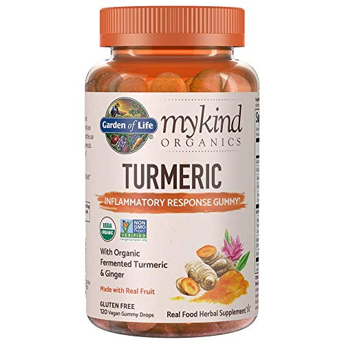 Garden of Life mykind Organics Turmeric Inflammatory Response Gummy - 120 Real Fruit Gummies for Kids & Adults, 50mg Curcumin (95% Curcuminoids), No Added Sugar, Organic, Non-GMO, Vegan & Gluten ()