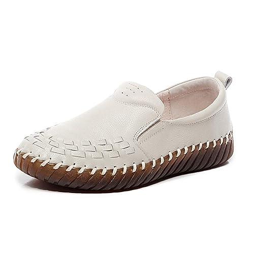 Zapatos Planos De Cuero Genuino De Las Mujeres para Mujer Slip On Mocasines Hechos A Mano CóModos Zapatillas De Deporte Casuales: Amazon.es: Zapatos y ...