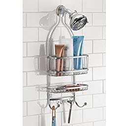 InterDesign York Lyra - Bathroom Shower Caddy Shelves - Silver - 10 x 4 x 22 inches