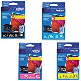 Genuine Brother LC79 (LC-79) Super High Yield Color (Bk/C/M/Y) Ink Cartridge 4-Pack (LC79Bk, LC79C, LC79M, LC79Y) for Brother