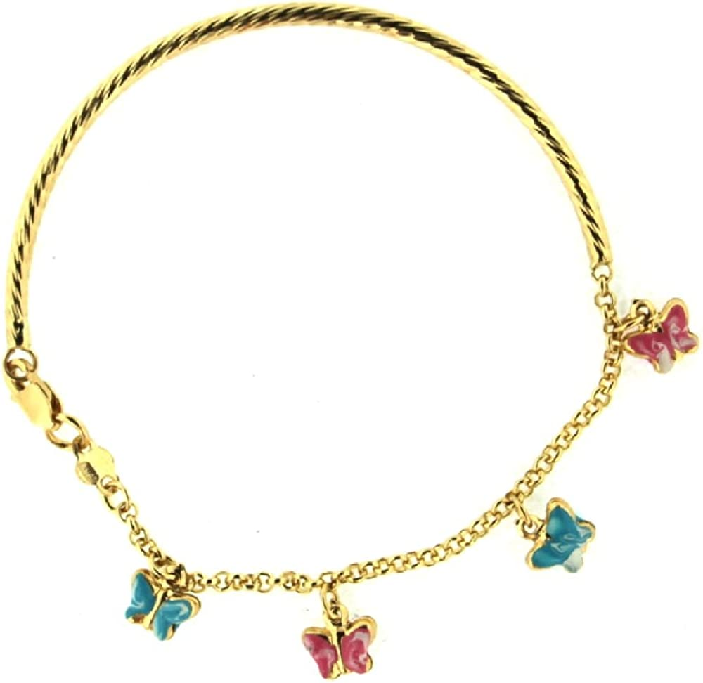 18KT Yellow Gold Pink and Lilac Enamel Peace blue Enamel Heart Bracelet 6 inches