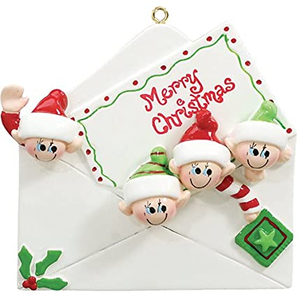 39ee852af42 Personalized Christmas Letter Family of 4 Ornament for Tree 2018 - Cute  Children Friend Elf in