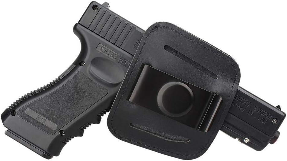 Gexgune Funda de Caza Bolso Negro Clip de Funda de Pistola para Glock 17 18 19 1911 Beretta 92 Pistola táctica IWB OWB Fundas de Cuero