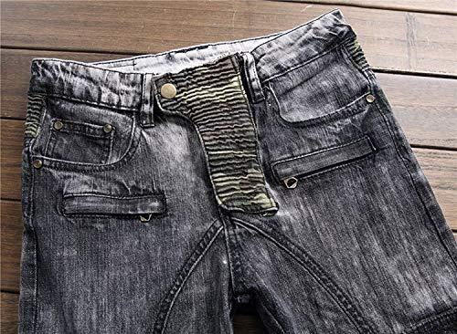 Lunghi Pantaloni Denim Slim Vita Stretch Battercake Senza Aderenti A Alta Regular Blu Comodo Dritti Jeans Cinturino a0xqxt