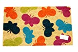 Home Garden Hardware 37635 Multi Butterfly Printed Coir Doormat,Natural,Small