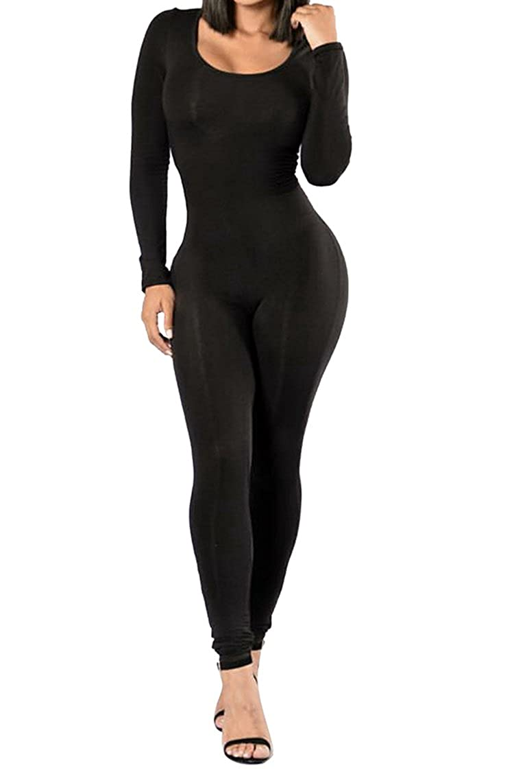 802666fe19a7 Selowin Womens Solid Long Sleeve Slim Fit Bodycon One Piece Jumpsuit  Bodysuit at Amazon Women s Clothing store