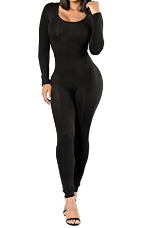 63e0cf735d3a Selowin Women s Fashion Scoop Neck Skinny Long Pants Shapewear Jumpsuits  Rompers Black S
