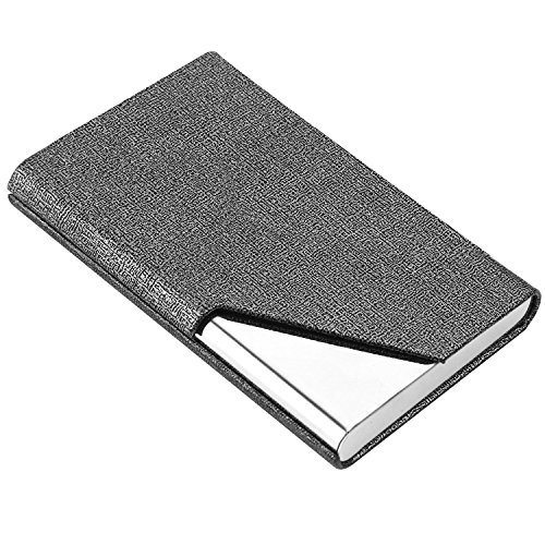 Business Name Card Holder Luxury PU Leather & Stainless Steel Multi Card Case,Business Name Card Holder Wallet Credit Card ID Case/Holder for Men & Women (Gray)