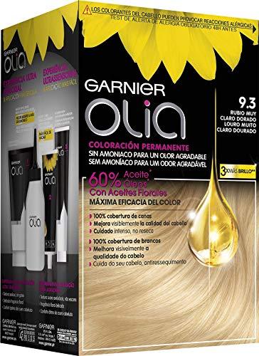 🥇 Garnier Olia coloración permanente sin amoniaco para un olor agradable con aceites florales de origen natural – Rubio Muy Claro Dorado 9.3