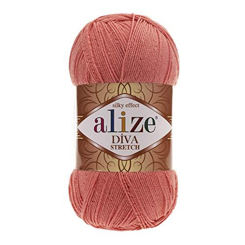 100% Microfiber Acrylic Stretch Yarn Alize Diva Stretch Thread Crochet Hand Knitting Turkish Yarn Lot of 4skn 400gr 1752yds Color 619 Coral