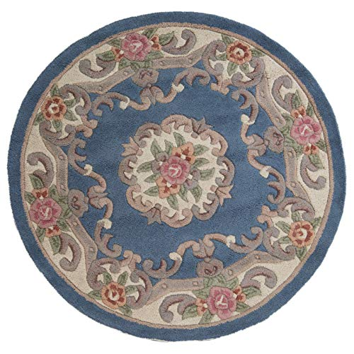 eRugs Traditional Round Original Classic Aubusson Floral 100% Wool Hand Tufted Chinese Rug, Blue -120 x 120cm ()