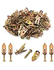 ISPINNER 140pcs 12x30mm Self Drilling Drywall Anchors with Screws Kit, No Drill or Holes in Wall, Hangs up to 66 lbs