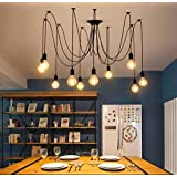 Spider Lamp Light Pendant Lighting, 10 Arms Adjustable DIY Modeling Industrial Ceiling Lamp, Suitable for Living Room, Dining