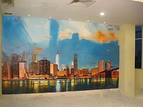 Amazoncom City Scapes Hand painted Wall Mural on Canvas Accepts