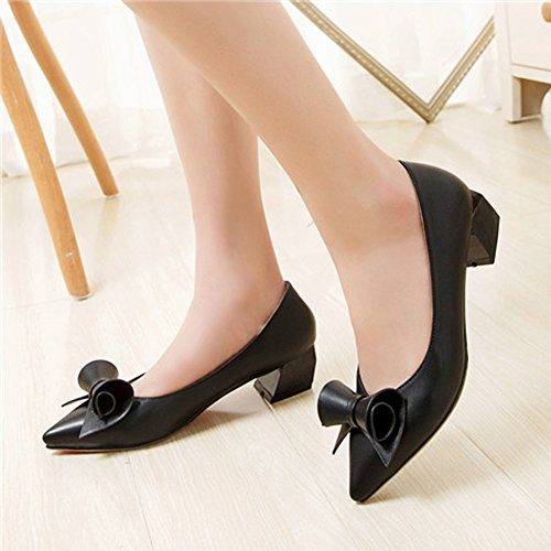 Women's With Bow Toe Slip Black On Pointed Matt Block Pump Low Heel Leahther Heels Comfy Patent fereshte Hq44U