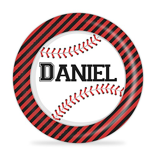 Baseball Plate - Red Black Sports Melamine Personalized Name Plate (Baseball Dinner Plates)