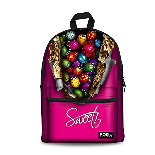 Bigcardesigns Ladybug Candy Printing Bookbag Student Schoolbag (Chocolate Small Rolling Luggage)