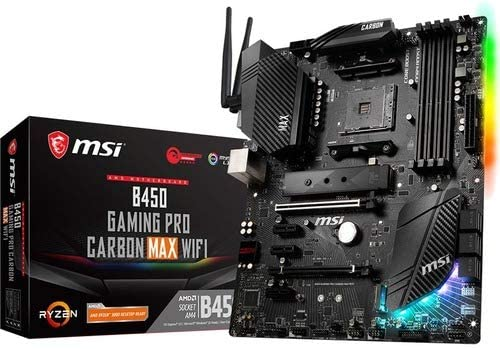 MSI Performance Gaming AMD Ryzen 1st, 2d, and third Gen AM4 M.2 USB 3.2 Gen 2 DDR4 HDMI Display Port Wi-Fi ATX Motherboard (B450 Gaming PRO Carbon MAX WiFi)