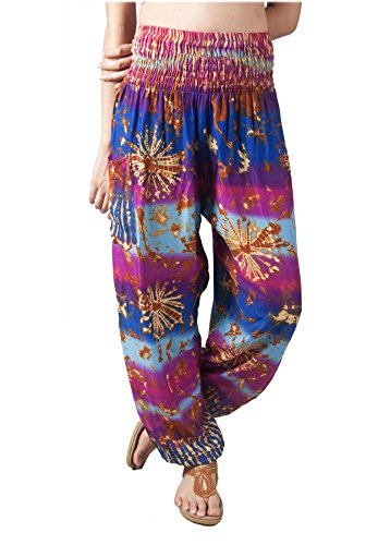 - Lofbaz Women's Tie Dye Printed Flowy Boho Pants Blue & Purple S