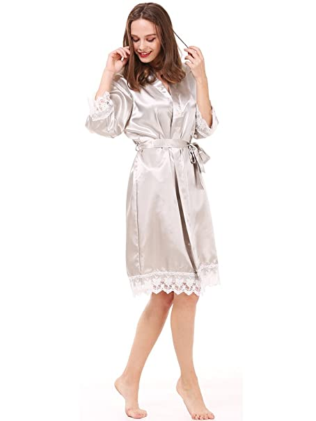 Mr Mrs Right Women s Solid-colored Robe for Bride and Bridesmaid with Lace  Trim 67b78ac63