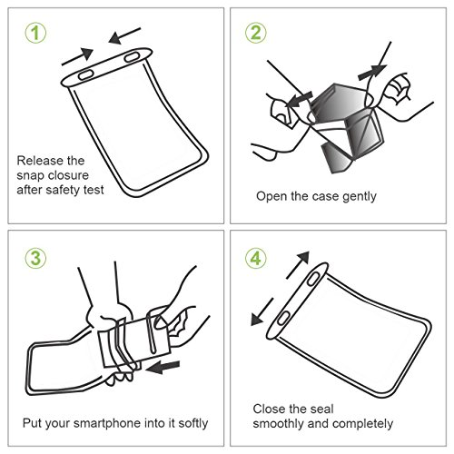 Universal Waterproof Case, Waterproof Phone Pouch Dry Bag with Armband & Neck Strap for iPhone X 8 8Plus 7 7Plus 6S 6SP 6 6Plus, Samsung Galaxy S9/S9 Plus/S8 Plus/Note 8 6 5 up to 6.0'' (White,Black) by CUCIUS (Image #5)