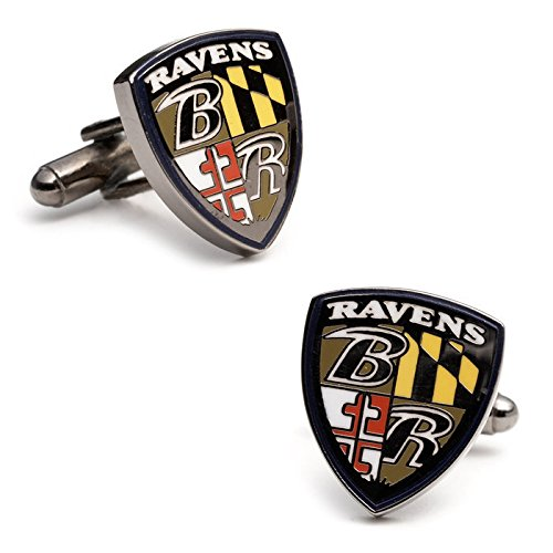 NFL Baltimore Ravens Shield Plated Cufflinks (Team Colors) ()
