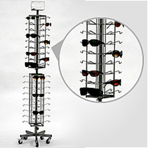 New Economy 72 Sunglasses Floor Standing Spinner Display Rack Silver - Fixtures Sunglass