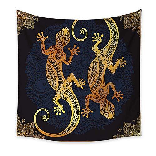 pestry Artistic Gecko Lizards Boho Framework Tropical Henna Tattoo Style Floral Wall Tapestry Dark Orange Yellow Dark Blue 70W x 70L Inch ()