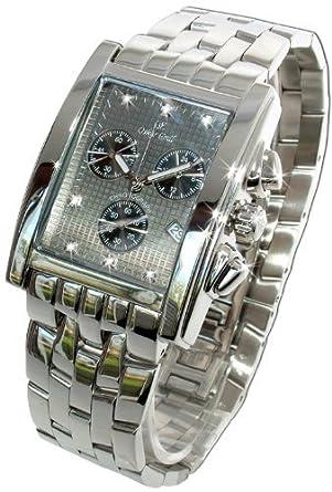 Oskar Emil Herren Rodez Stahl 7 Diamond Chronograph Uhr mit Gaue Ziffern