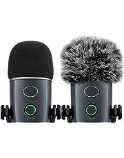 Etui na mikrofon i futrzany mufka przednia szyba do niebieskiego Yeti Nano, Ancable 2 szt. mikrofon zewnętrzny filtr pop do szyby, pianka MXL, osłona mikrofonu, osłona z pianki mikrofonu, tłumik mikrofonu, filtr mikrofonowy