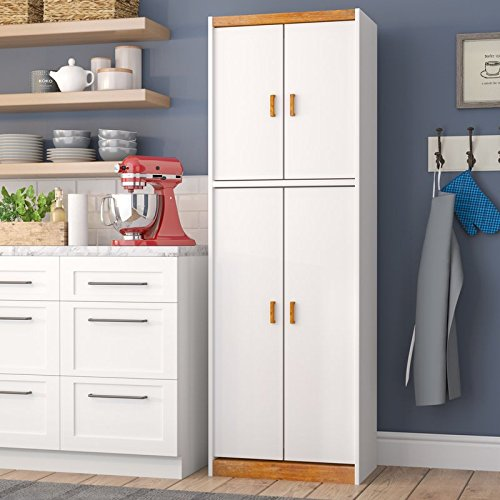72'' Kitchen Pantry 2 Shelves in the Top Compartment and 3 Shelves in the Bottom Compartment Ideal for Pantry or Laundry