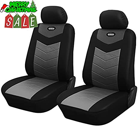 Admirable Amazon Com 125701 Black Leather Like 2 Front Car Seat Squirreltailoven Fun Painted Chair Ideas Images Squirreltailovenorg
