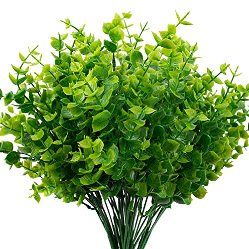 THE BLOOM TIMES Artificial Boxwood (Pack of 6), Artificial Greenery Stems Fake Outdoor Plants UV Resistant for Farmhouse…