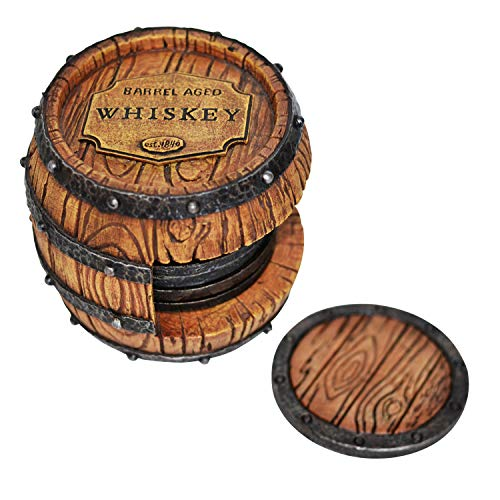 5pc Whiskey Barrel Drink Coasters Unique – Bar Decor and Accessories Beer Coaster – Home Decorations for Dining Room…