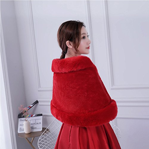 et Marie Automne Femme Artificiel Duvet Pour Rouge Aikesi Marie Chale hiver De Chaud Robe 5SdqC