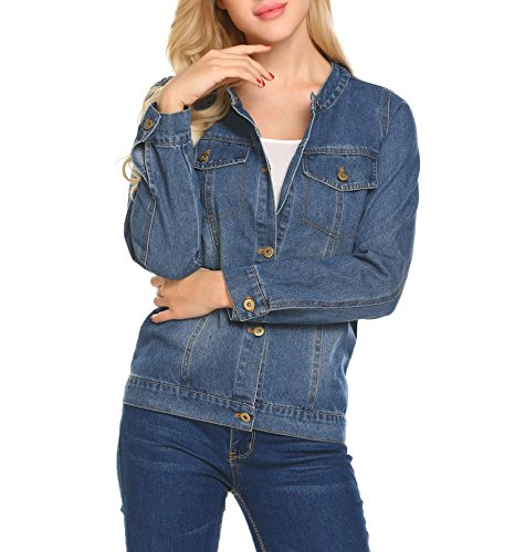 Concep Vintage Jean Jacket Boyfriend Long Sleeve Fitted Denim Coat For Women (Light Blue XXL) Womens Ladies Jean Denim Coat
