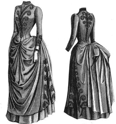Victorian Sewing Patterns- Dress, Blouse, Hat, Coat, Mens 1887 Cheviot Dress with Braid Trimming Pattern $39.25 AT vintagedancer.com