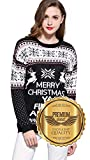Product review for V28 Women's Christmas Reindeer Snowflakes Sweater Pullover