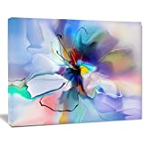 Designart PT15013-20-12 Abstract Creative Blue Flower Wall Art, 20x12''