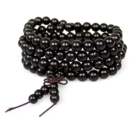 Natural Ebony - Mala Beads,8mm Natural Ebony Wood Buddhist Prayer 108 Beads Tibetan Chinese Knot Wrap Bracelet Necklace(Ebony Wood)