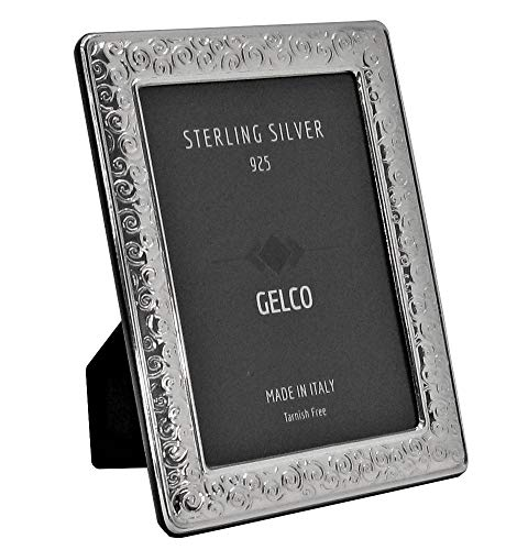 - Italian 925 Sterling Silver Handmade Glossy Swirl Picture Frame (5x7)