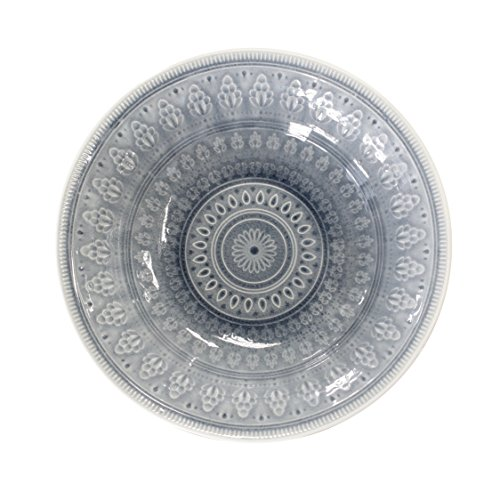 Euro Ceramica 86699VBG Fez in Grey Serving Bowl, Multicolor