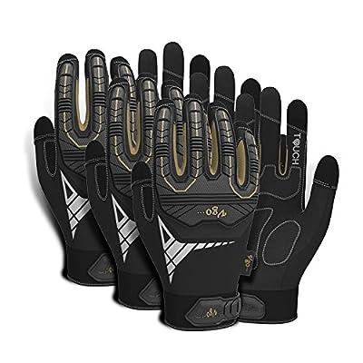 Vgo Glove High Dexterity Heavy Duty Mechanic Glove(3-Pairs)(Anti-vibration,anti-abrasion,touchscreen,TPR knuckle,EVA padding)