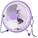 Water & Wood Purple Metal Shell Silver Tone Aluminum Blade Desktop Mini USB Fan Cooler DC 5V