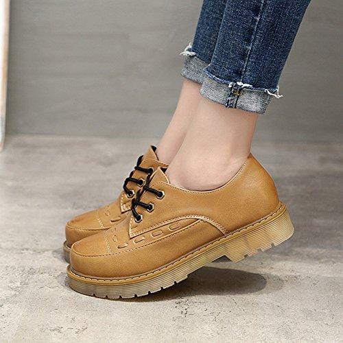 T-july Zapatos De Mujer De Moda Oxfords - Cómodo Con Cordones De Tacón Medio, Punta Redonda Zapatos Casuales Amarillo